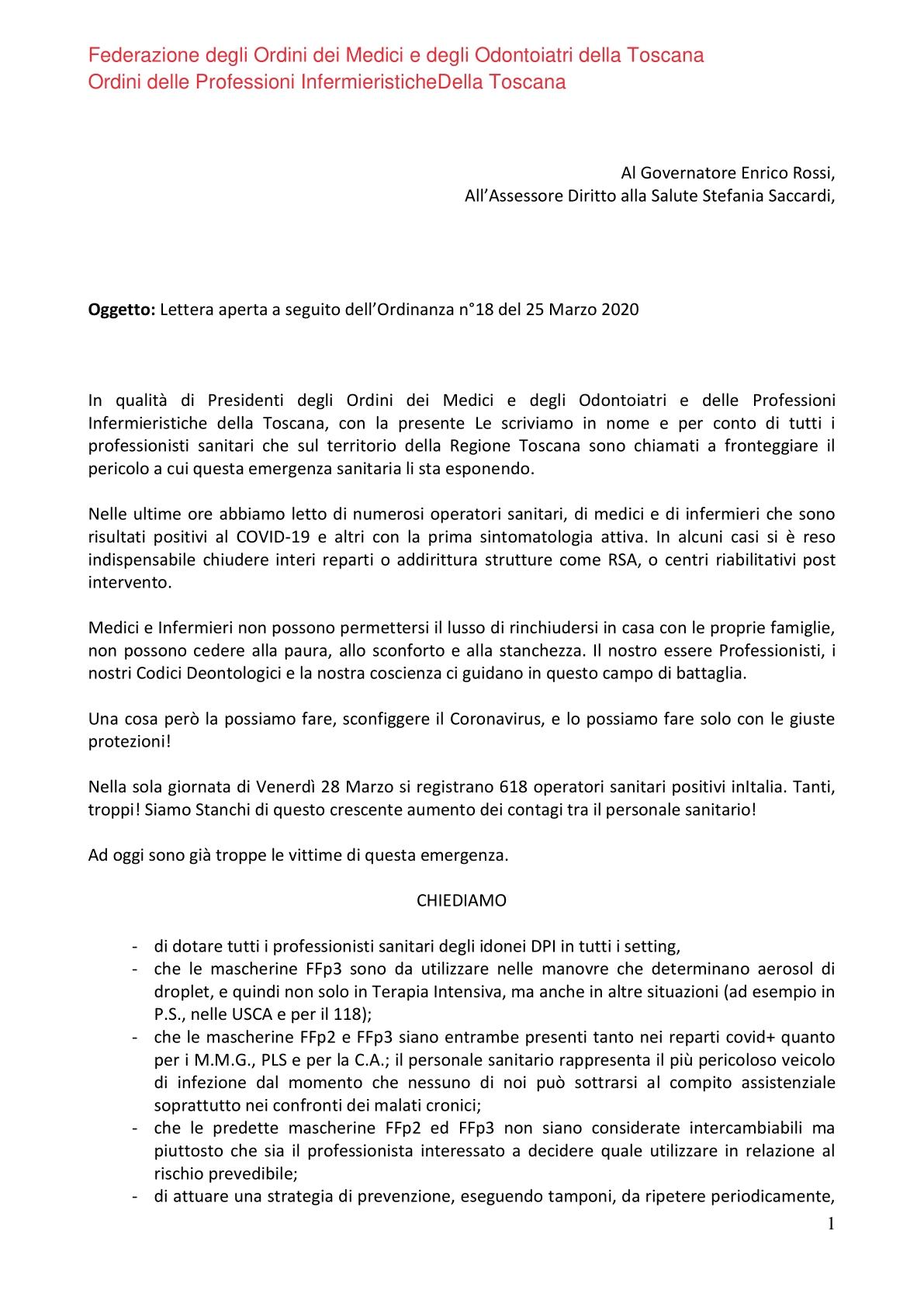Lettera Aperta Medici e Infermieri Toscani 1