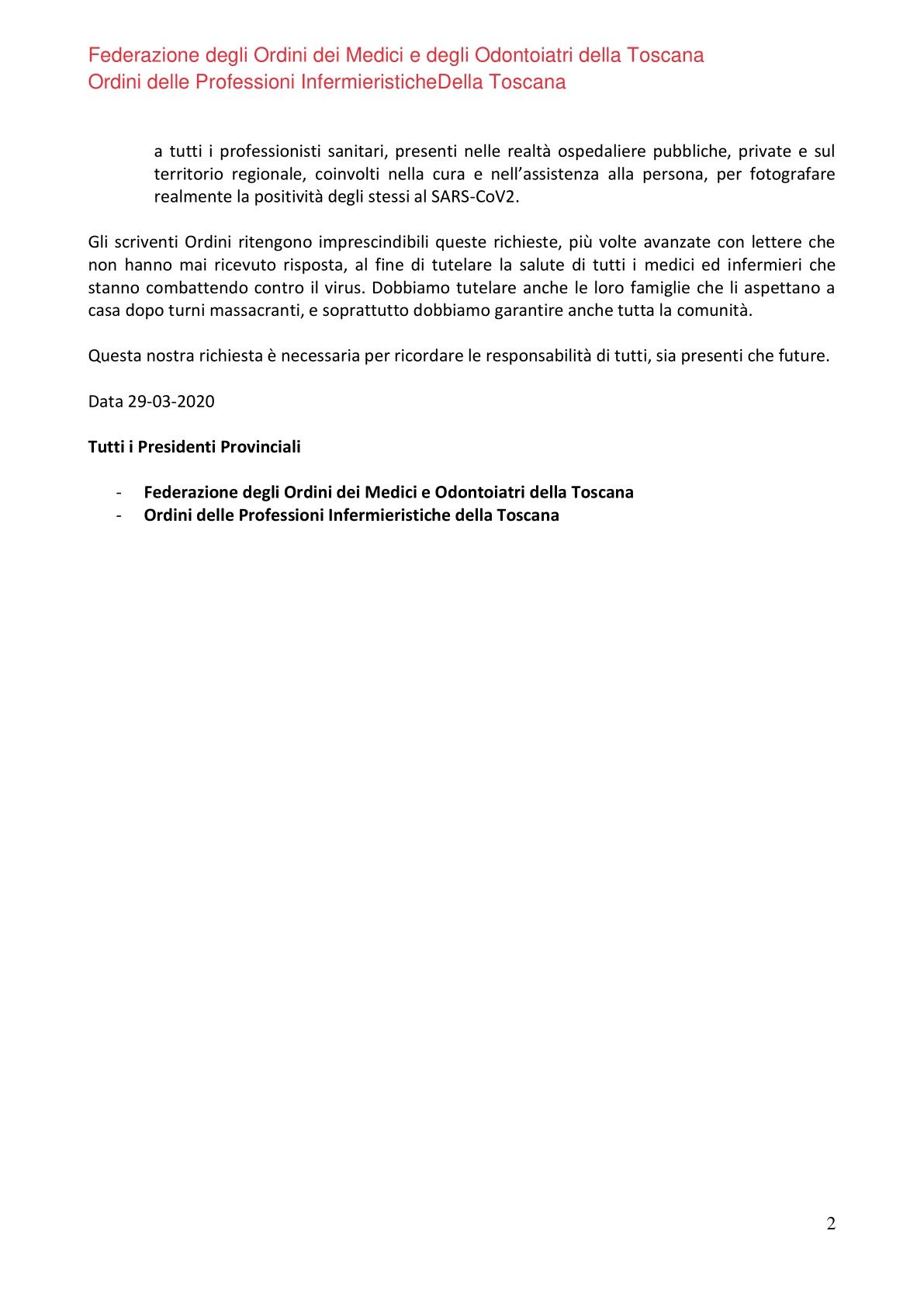 Lettera Aperta Medici e Infermieri Toscani 2