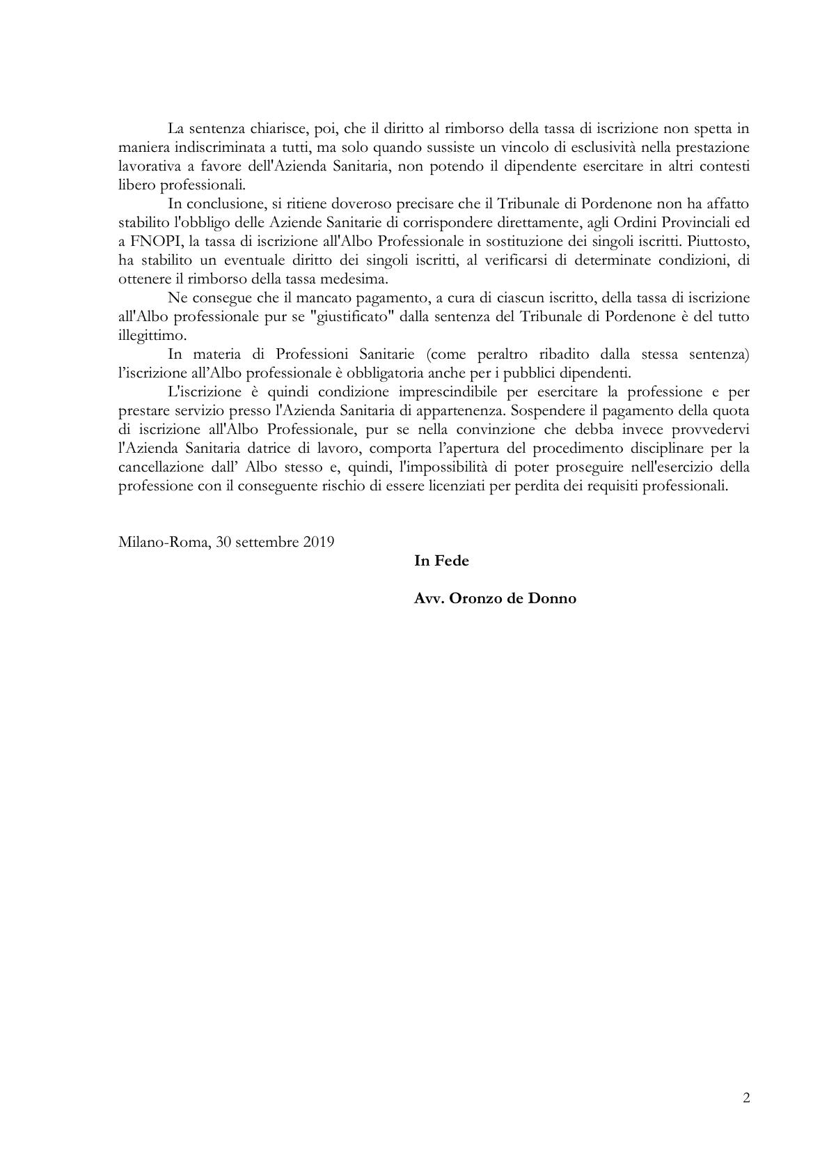 parere avv de donno sentenza tribunale pordenone 2